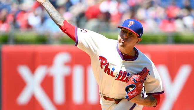 Philadelphia Phillies starting pitcher Vince Velasquez throws a pitch Sunday during the first inning against the Atlanta Braves at Citizens Bank Park.