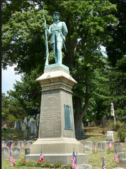 Johnson M. Mundy statue of a Civil War soldier in Sleepy Hollow Cemetery, Sleepy Hollow, Westchester County.
