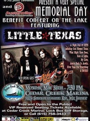 Little Texas is the scheduled performer at a Memorial Day benefit concert at Cedar Creek Marina for Big Brothers of Mt. Juliet.