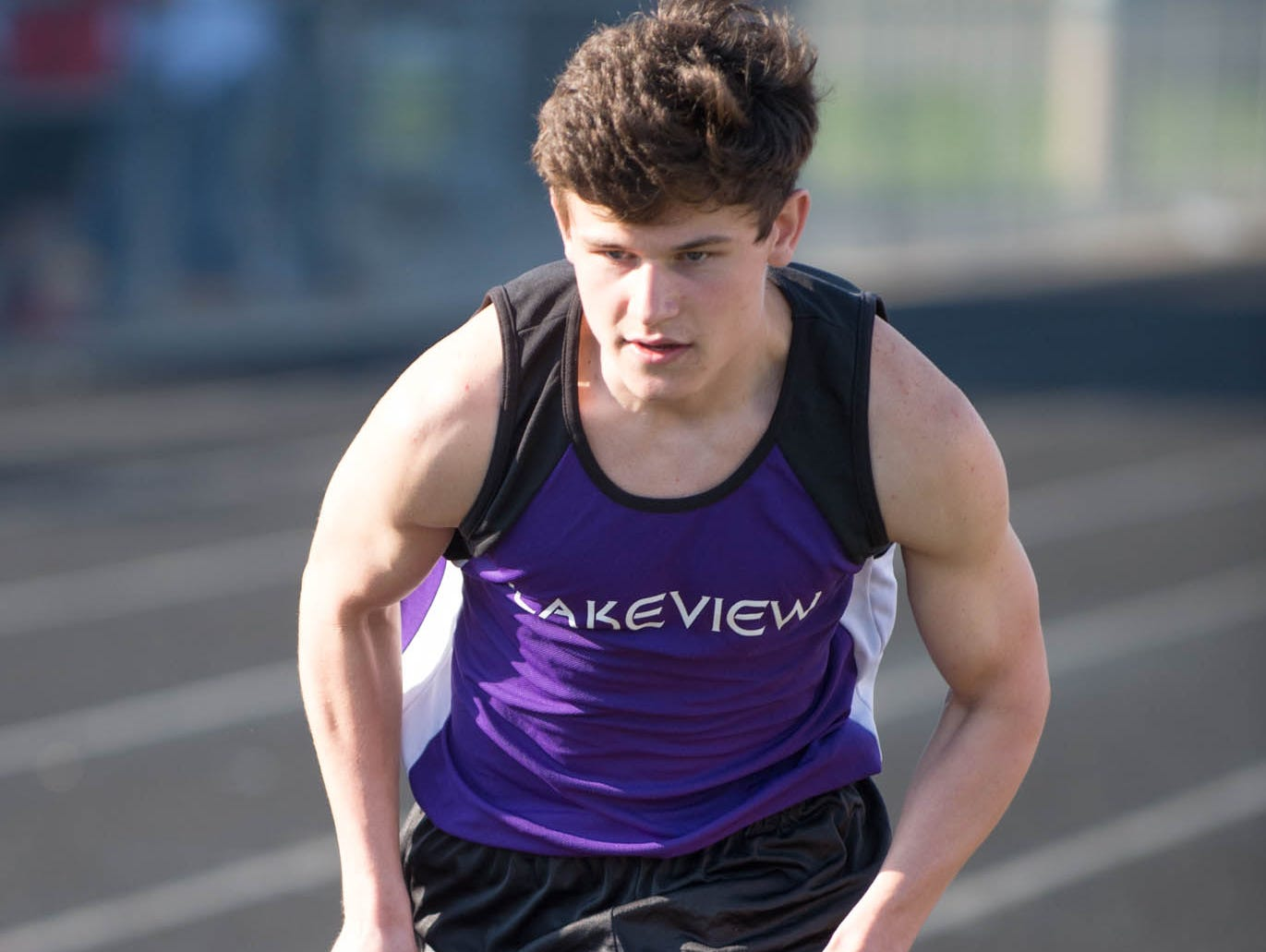 Lakeview's Brandon VanOosten competes in the 3,200 relay at the Lakeview Track and Field Meet on Friday.