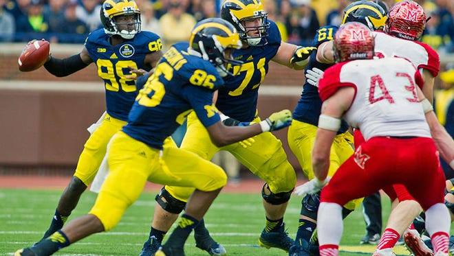 The Michigan offensive line, which looked dominant at times against Miami (Ohio) on Saturday, has allowed just four sacks this season.