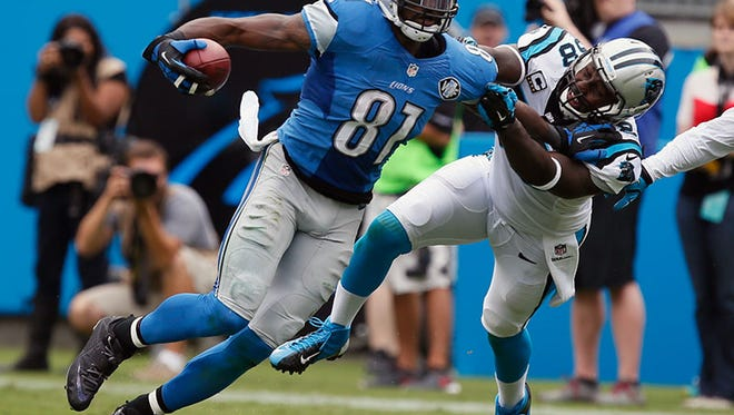 Lions wide receiver Calvin Johnson tries to fight off the Panthers' Thomas Davis during the Lions' loss in Charlotte, N.C.