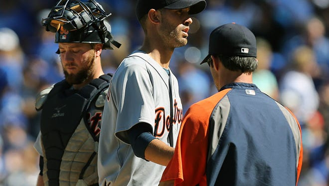 Tigers pitcher Rick Porcello exits the game during Sunday's loss to the Royals.