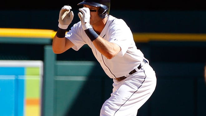 Tigers second baseman Ian Kinsler celebrates his RBI double in the seventh inning of the Tigers' 6-1 win Wednesday at Comerica Park.