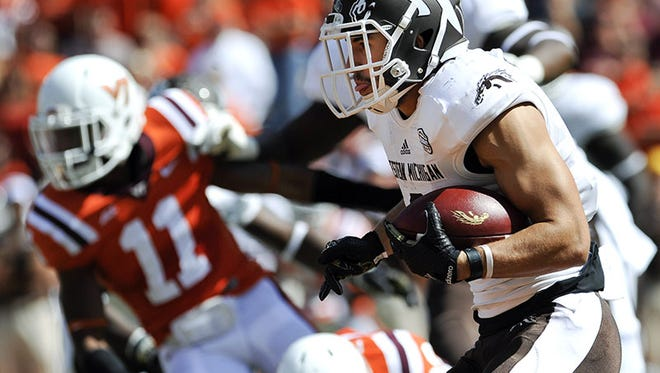Western Michigan wide receiver Daniel Braverman carries the ball on a reverse against Virginia Tech in the first half at Lane Stadium Saturday.
