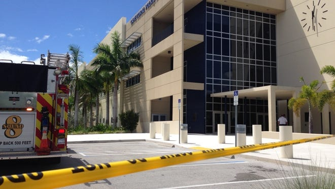 The lobby and front parking lot at the Cape Coral Police Department is closed due after a man brought a suspicious package he received.
