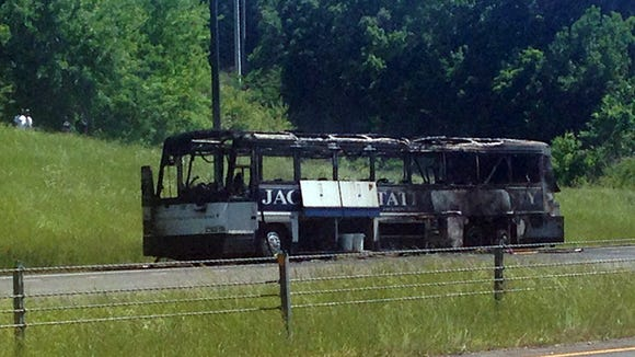 The remains of a Jackson State University bus after a fire in Alabama.