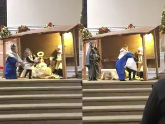 Kids acted out the Nativity of Jesus at a Sunday program,