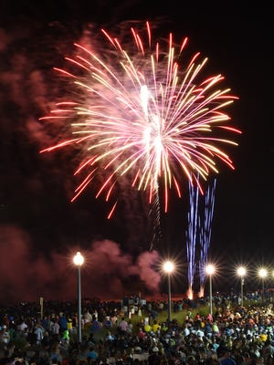 Fireworks erupt over Rehoboth Beach on Sunday. Thousands attended the annual celebration.