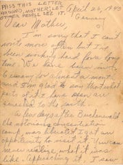 This is the first of 12 pages of a letter that soldier Al Cohen sent home about his observations at the Buchenwald Nazi death camp when he arrived shortly after it was liberated in April 1945.
