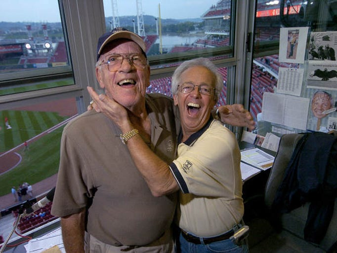 Here's a list of Reds radio and TV announcers through the years, in chronological order.   Above, Joe Nuxhall (left) and Marty Brennaman in the WLW radio booth at the Great American Ball Park in 2004.