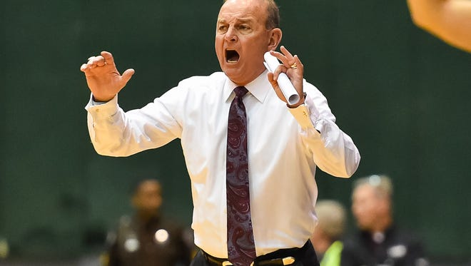 Mississippi State coach Vic Schaefer relays instructions to his players in a recent game.