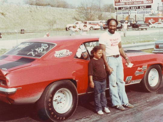 Charles Moulden and his daughter, Stephanie, 5, pose with his 1969 Camaro Z/28 at Crossville Drag Strip circa 1978. (Charles Moulden/Special to the News Sentinel)