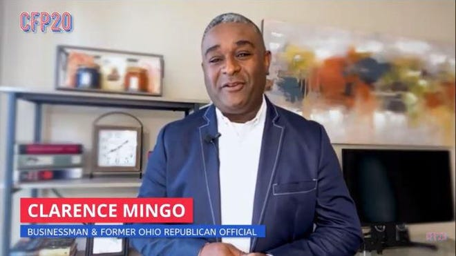 Former Franklin County Auditor Clarence Mingo speaks at the Convention on Founding Principles, a digital event put on by Republicans and others who oppose President Donald Trump's re-election.