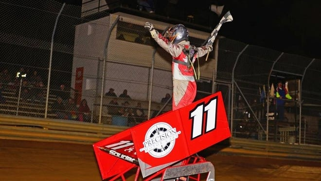 Dan Souder celebrates after winning the 600 Micro race at Lanco's Clyde Martin Memorial Speedway on Saturday.