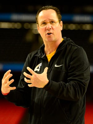Wichita State Shockers head coach Gregg Marshall reacts during practice before the semifinals of the Final Four.