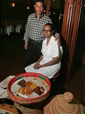 Stuart Smith, owner of Makeda in New Brunswick, and chef Yeshimebet Abefrs are shown at the restaurant, which closed its doors last month.