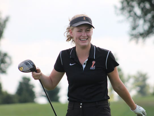 Allison Rountree seems pleased with her drive for the