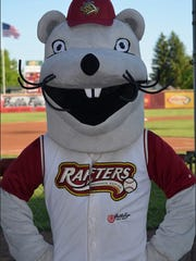 Rosco poses for a photo during a Wisconsin Rapids Rafters game.