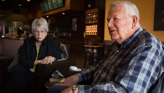 Gale Gray (right) sits with his wife Sandy Gray (left), discussing their thoughts on the latest Larry Nassar developments and how they've impacted the Holt community.