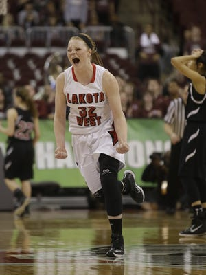 Lakota West's Abby Prohaska celebrates after the Firebirds defeated Newark to advance to the State Title game, Friday.