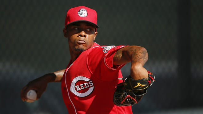 Raisel Iglesias threw to batters for the first time on Tuesday.