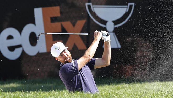 Chris Kirk hits from the sand on the eighth hole during the first round of the Rocket Mortgage Classic on Thursday at the Detroit Golf Club in Detroit.