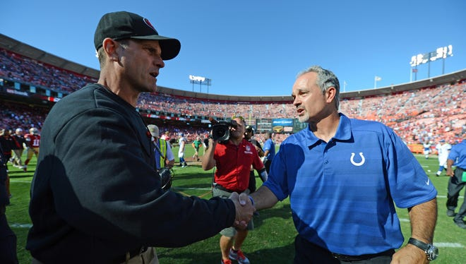 Jim Harbaugh (left) and Colts coach Chuck Pagano