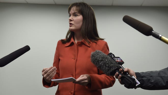 In this file photo, Tennessee Education Commissioner Candice McQueen talks about the problems with TNReady testing.