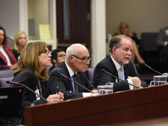 From left, Lobbyists Lesley Pittman, Keith Lee and Michael Hillerby representing MillerCoors, Distilled Sprits Council and Anheuser-Busch InBev respectively, opposed assembly bill 431 because of its new provisions tightening relations between brewers and distributors. The bill was heard at Nevada assembly committee for commerce and labor April 10.