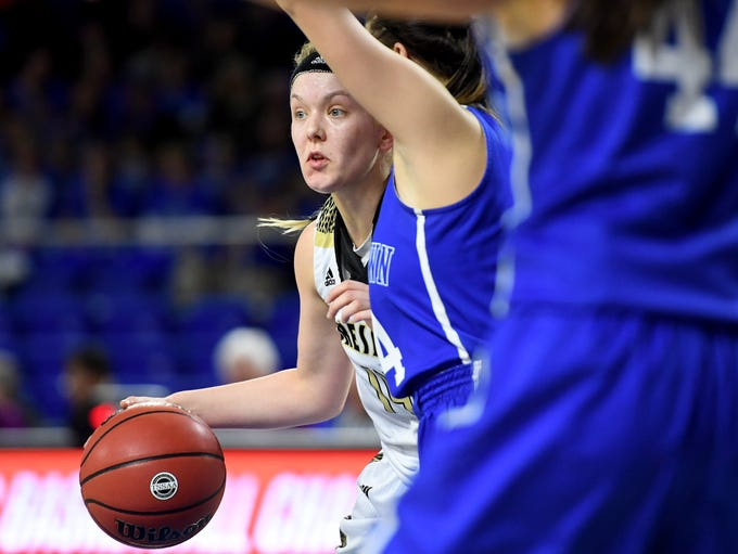 Dresden's Mary Grace Davis is guarded by a Summertown