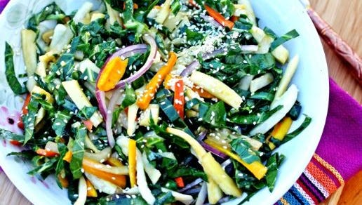 Lohudfood's Spices and Seasons blogger shares her recipe for collard green and roasted vegetable slaw.