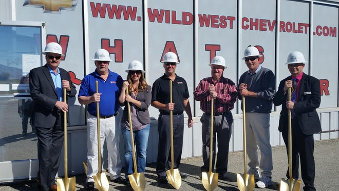 Golden shovels at the Oct. 21 groundbreaking ceremony for Wild West Chevrolet in Yerington. From left to right: Kevin Fox, Ally Financial; Don Lindberg, Wild West Chevrolet owner; Ashlee Lindberg-Carlgren, Wild West Chevrolet; Tony Lindberg, Wild West Chevrolet general manager; Tom Grady, former Nev. State Assemblyman; Yerington Mayor George Dini; and Lyon County manager Jeff Page.