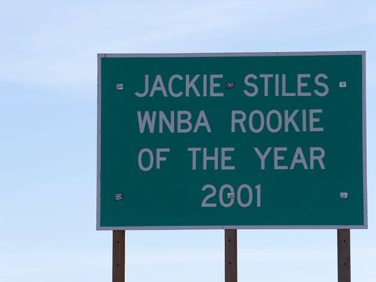 A sign commemorating Jackie Stiles WNBA rookie of the