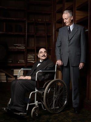 "David Suchet, left, as Hercule Poirot and Hugh Fraser as Captain Hastings are shown in Agatha Christie's ""Poirot: Curtain, Poirot's Last Case,"" premiering exclusively on Acorn TV."