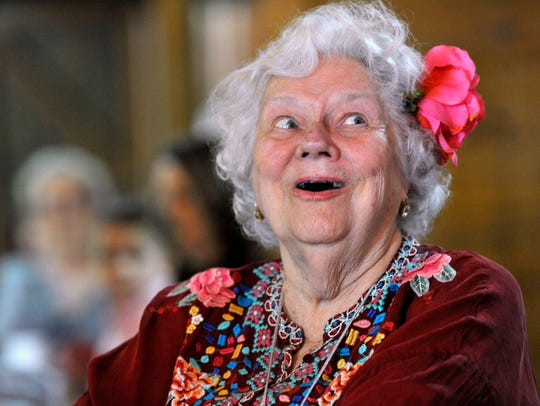 """Betty """"Poppy"""" Crowe smiles as she sings along during the Gospel Brunch Saturday at 201 Mesquite Event Center. The show featured a gospel choir and was part of the Key City Rhythm & Blues Festival."""