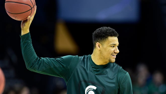 Michigan State Spartans forward Kenny Goins injured the knee Feb. 14 against Indiana and has not played since.