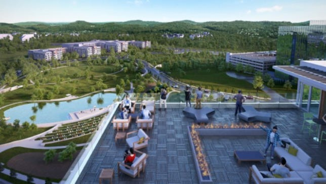 A view of the roughly 2,000 square foot roof terrace planned at Three Franklin Park.