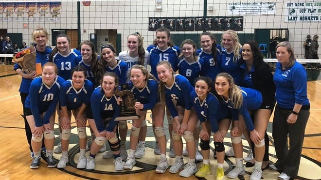 The Ionia volleyball team won a district title in 2019.