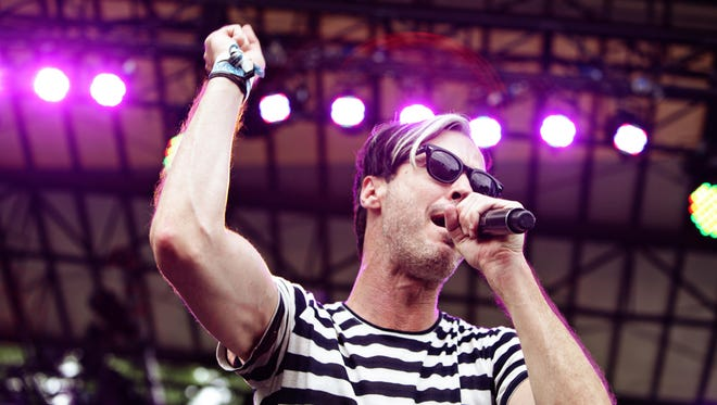 Michael Fitzpatrick of Fitz and the Tantrums performs at the inaugural Firefly Music Festival in Dover in 2012.
