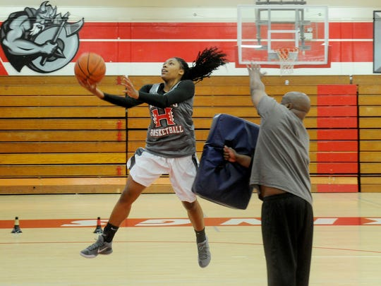 Jalise McCaskill, a transfer from Oaks Christian, averages 13.3 points and 11.3 rebounds for Hueneme. The Vikings will play for the Division 5AAA title Saturday.