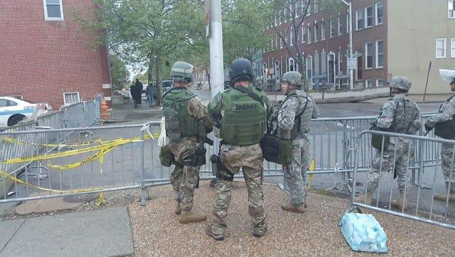 Members of the Butler County SWAT team working a security detail in Baltimore last week.