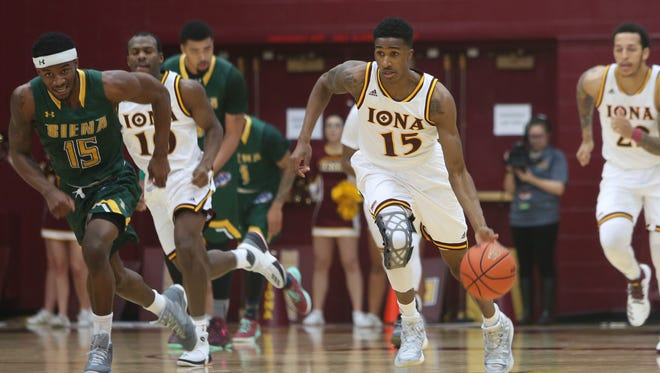 Iona's Deyshonee Much (15), pictured during a game against Siena, had 19 points in a 72-51 win over Manhattan on Feb. 24, 2017.