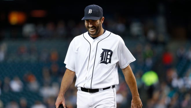 Tigers pitcher Justin Verlander laughs after pitching the first inning Tuesday at Comerica Park.