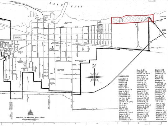 A new ordinance is set to add the property seen in red on this map to Port Clinton's community reinvestment area.