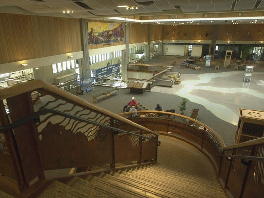 Decorative railings were part of the renovated interior of the Great Falls Airport terminal, shown in 2003.