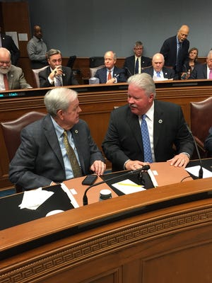 State Rep. Bubba Chaney, R-Rayville, and state Sen. Jay Luneau, D-Alexandria, discuss the budget during Thursday's Joint Legislative Budget Committee hearing in Baton Rouge.