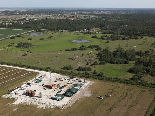 An aerial view of the Collier Hogan well, southwest of Lake Trafford near Immokalee, on Friday, May 16, 2014 in Naples, Fla. (Dania Maxwell/Staff)
