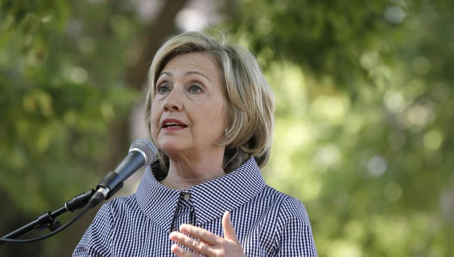 Democratic presidential candidate Hillary Rodham Clinton speaks at the Iowa State Fair on Aug. 15 in Des Moines.