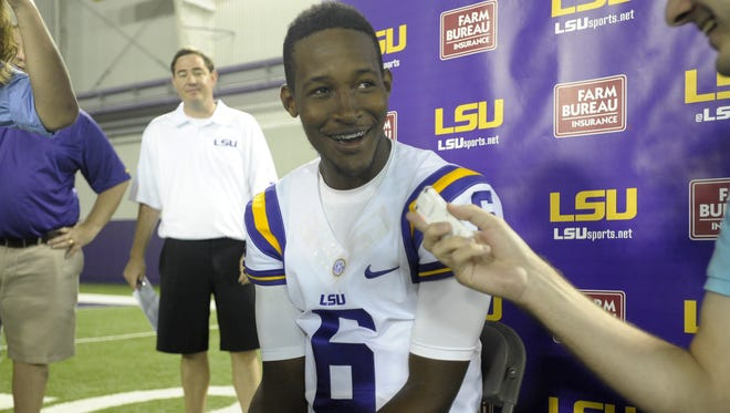 LSU quarterback Brandon Harris (6) speaks to members of the media during LSU Media Day at the Charles McClendon Football Practice Facility in Baton Rouge.